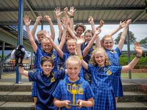 MAGNIFICENT MAGPIES: Front: Bessie, second row: Riley and Nadia, third row: Lucy, Molly and Caitlin, back: Tom, Liam, Micah and their teacher Ainsley Pope from South Grafton Public School who recently won part of the Animal Allies First Lego League competition in Sydney. Absent team member: Kaydence.