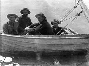 The Tripcony brothers in a small sailing boat, ca 1892.
