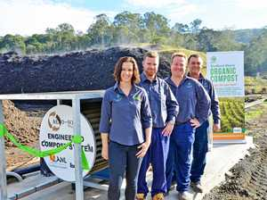 Northern Rivers Waste team members (l-r) Danielle Hanigan, Paddy Byrne, Kevin Trustum and Charlie Crethar launching the Biocycle Compost Facility expansion earlier this year.