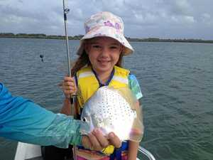 HOOKED: Charlotte Mulhall with the sickle fish she caught this week using a yabbie as bait.