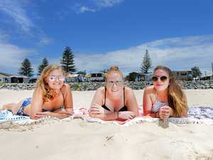 GOODBYES: Kingscliff Holiday Park visitors Mady McInness, Katie Hewett and Hailey Ryan (all of Brisbane), enjoying time out at Kingscliff Beach before the park closes later this month