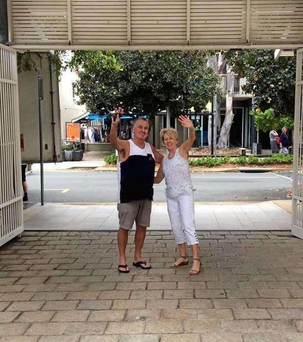 BITTERSWEET: Gary and Debra Murnane wave goodbye to Sandcastles.