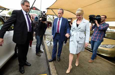 Bill and Chloe Shorten in Morayfield, Queensland. The cost of this trip is yet to be declared. Photo: AAP.