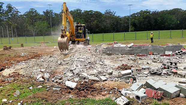 UPGRADE: The old brick building was demolished on Fitzroy Oval this week.
