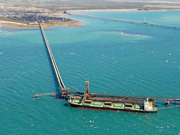 An aerial view of coal terminals and berths at Hay Point and Dalrymple Bay.