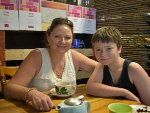 TEA TIME: Dina and Zach Cooper enjoying a healthy lunch and cup of tea at Farmer & Sun Café.