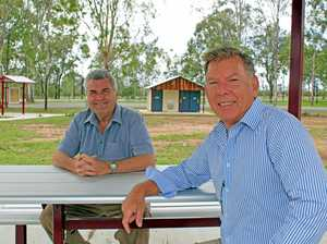 TOURISM BOOST: Councillors David Pahlke Wayne Wendt look over the new rest stop facilities at Willowbank.