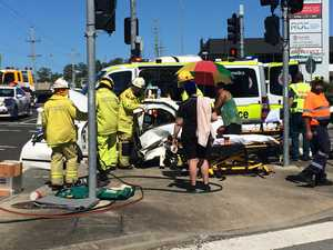 Young woman, two girls, taken to hospital after crash