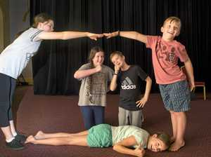 DRAMA TIME: Enjoying the 18 Hour Play Project at the Empire Theatre are (from left) Aylish Ryan, Cameron Grimmett, Matthew Murphy, Edward Long and Grace Murphy lying on ground.