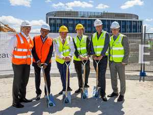 COMING SOON: Michael Sutherland, Maha Sinnathamby, Mayor Paul Pisasale, James Shield, David Rutter and Charles Mattes at the official sod turning of Quest Hotels Springfield.