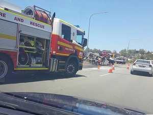 Truck rollover shuts down motorway