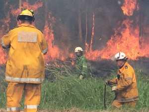 Firefighters battle Coolum blaze.