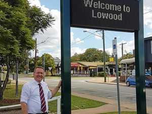 Member for Ipswich West, Jim Madden, with the new LED sign for Lowood.