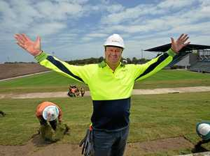 Simon Ball- venue manager shows off the Sunshine Coast Stadium Upgrades. The southern and northern hills have all been turfed, plus work is going on the massive eastern bank and wiring being done in prep for the big screen.