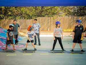 Clinten Davison and Jason Marsh passing on their experience to Shane Kerohan, Ryder Baguley, Trinity Ninness, and Bobby-J Squires at the Revolutions Skateboarding Workshop in Nebo