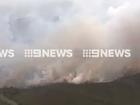 Aerial fottage of a bushfire near Coolum. Image Nine News