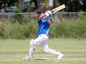 BLAZING AWAY: Reece Plumbing's Matthew Jones in full swing during play in the Frenchville Sports Club Corporate T20 Competition.