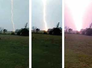 WHAT A SNAP: Lightning strikes Jenna Heit's Jambin property last Friday.