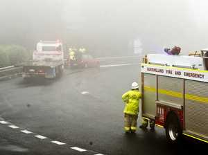 Three vehicle crash in foggy conditions