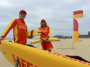 Clarence Valley Lifeguards Mikey Gillman (left) and Harry Fahey on patrol at Pippi Beach Yamba on Saturday 21st January, 2017.