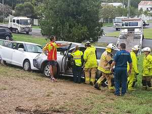 Firefighters remove pregnant woman from car after collision