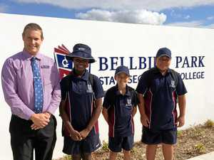 WELCOME: Bellbird Park State Secondary College principal Michael West greets new Year 7 students on their first day of school.