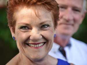Steve Dickson and Pauline Hanson face media