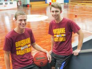 USQ students Ben Norley (left) and Matthew Cox at Bullets training as part of an internship with the NBL club.
