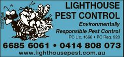 LIGHTHOUSE PEST CONTROL   Environmentally Responsible Pest Control   PC Lic. 1668 * PC Re...