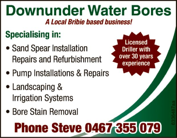 DOWN UNDER WATER BORES Installation of affordable sandspears & pumps.   Supplied & in...