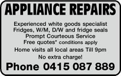 Experienced white goods specialist