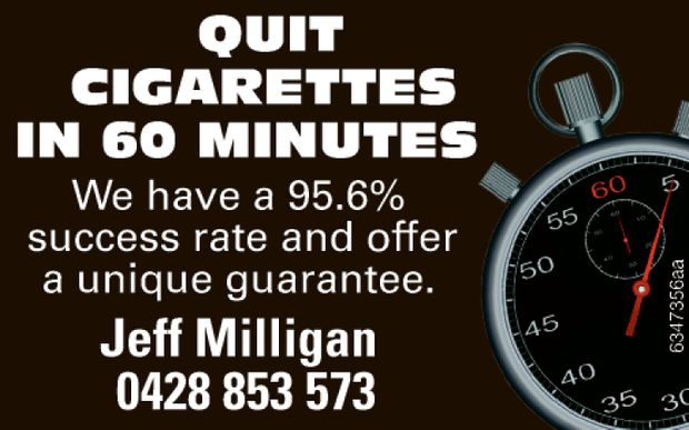 QUIT CIGARETTES IN 60 MINS   We have a 95.6% success rate and offer a unique guarantee.   ...