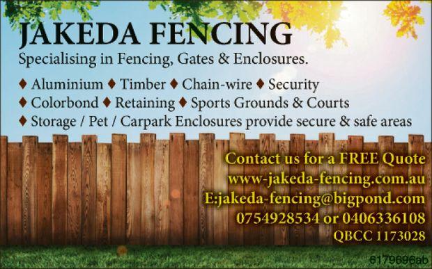 JAKEDA FENCING    Specialising in Fencing, Gates & Enclosures.    ♦ Alumini...