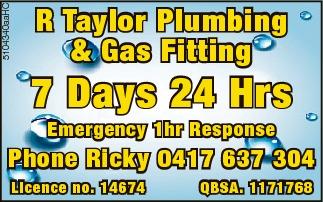 7 Days  24 Hrs Emergency  1hr Response   Phone Ricky 0417 637 304   Licence...