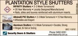 PLANTATION STYLE SHUTTERS   INFINITY Shutters     2-3 Week Turnaround  20 Y...