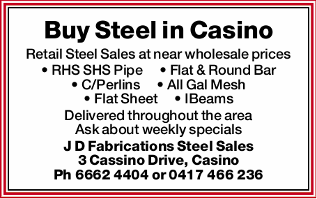 Buy Steel in Casino Retail Steel Sales at near wholesale prices RHS SHS Pipe Flat & Round Bar...