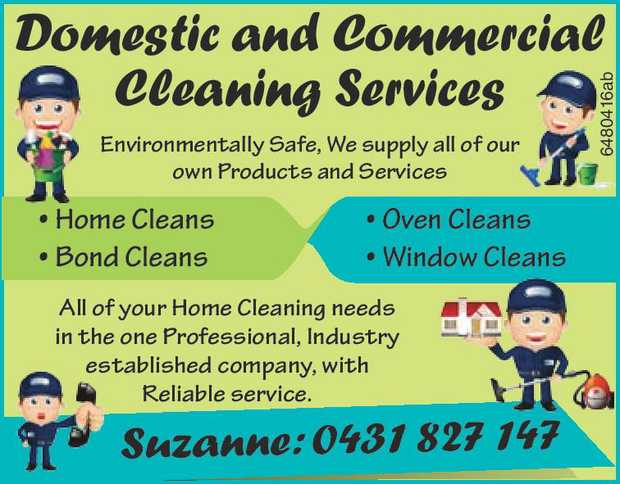 Domestic and Commercial Cleaning Services.