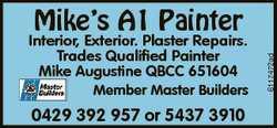 Member Master Builders 0429 392 957 or 5437 3910  Interior, Exterior. Plaster Rep...