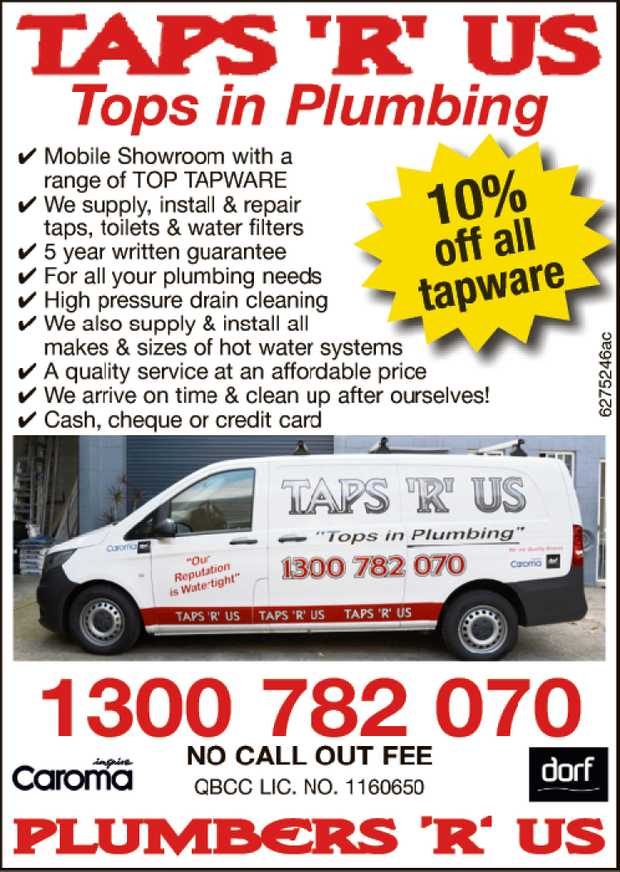 TOPS IN PLUMBING   NO CALL OUT FEE   Mobils Showroom with a range of TOP TAPWARE   We...