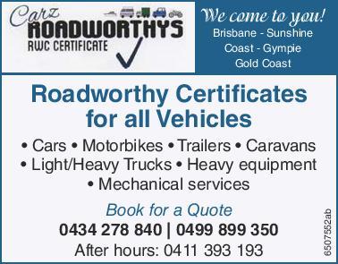 Roadworthy Certificates for all Vehicles   Cars   motorbikes   Trailers   Caravan...
