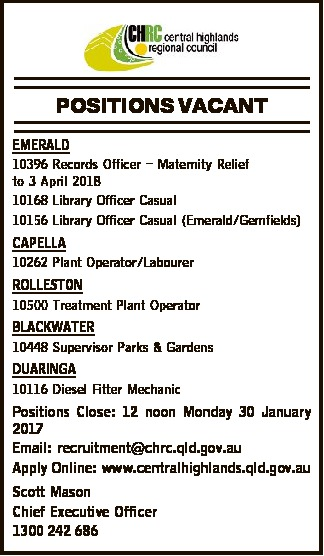 10396 Records Officer - Maternity Relief to 3 April 2018 10168   Positions Close: 12 noon Mon...