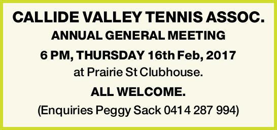 CALLIDE VALLEY TENNIS ASSOC. ANNUAL GENERAL MEETING 6 PM, THURSDAY 16th Feb, 2017 at Prairie St C...