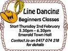Line Dancing Beginners Classes