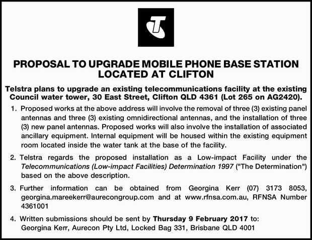 PROPOSAL TO UPGRADE MOBILE PHONE BASE STATION LOCATED AT CLIFTON Telstra plans to upgrade an exis...