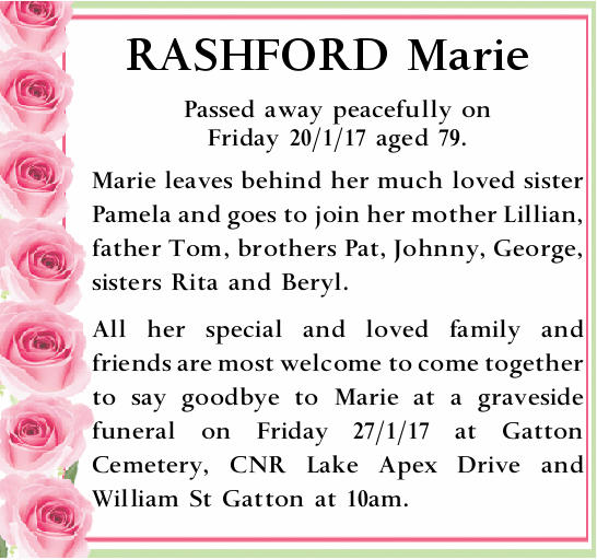 Passed away peacefully on Friday 20/1/17 aged 79.