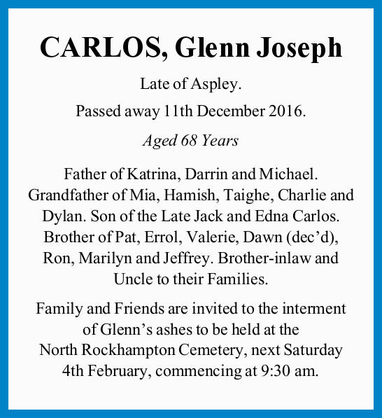 Late of Aspley. Passed away 11th December 2016. Aged 68 Years Father of Katrina, Darrin and Micha...