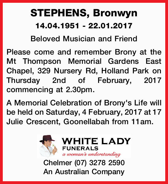 14.04.1951 - 22.01.2017 Beloved Musician and Friend Please come and remember Brony at the M...