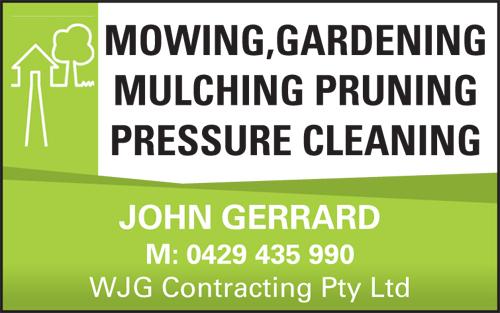 MOWING  GARDENING  MULCHING  PRUNING  PRESSURE CLEANING   JOHN GERRAR...