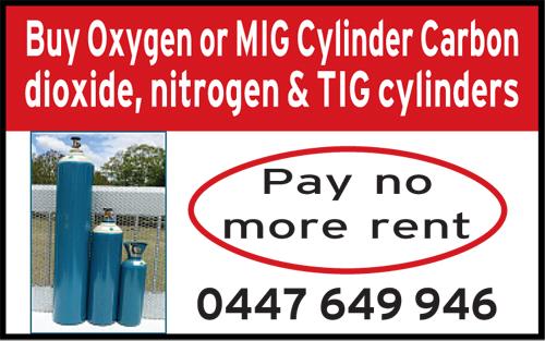 Buy Oxygen or MIG Cylinder Carbon dioxide, nitrogen & TIG cylinders   0447649946