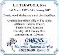 LITTLEWOOD, Rae 18th March 1937 – 30th January 2017